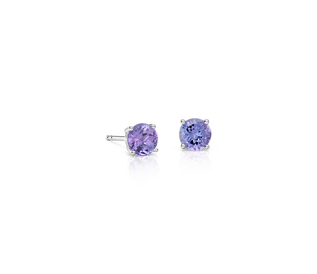 tanzanite earrings in 18k white gold (5mm) kwmgrun