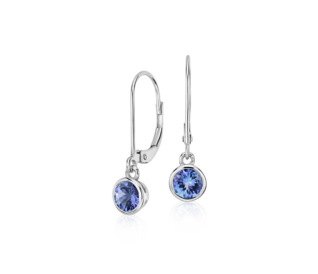 tanzanite earrings tanzanite bezel drop earrings in 14k white gold (5mm) xfcdgqc