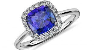 tanzanite rings tanzanite cushion and diamond halo ring in 14k white gold (7x7mm) ewfndgk