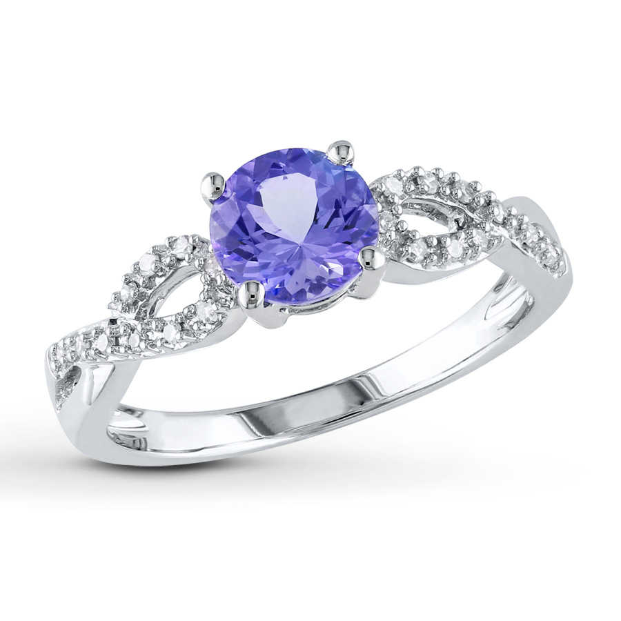 tanzanite rings tanzanite ring 1/15 ct tw diamonds 10k white gold ehfbvxb