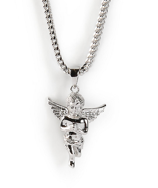the gold gods angel white gold necklace hrojkrp