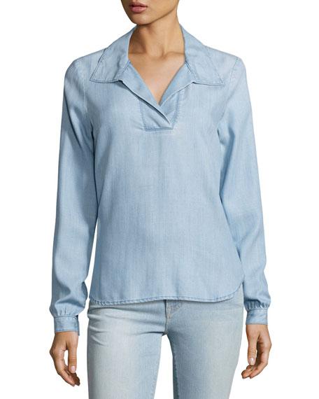 tie-back collared denim blouse, rowan kpzigzm