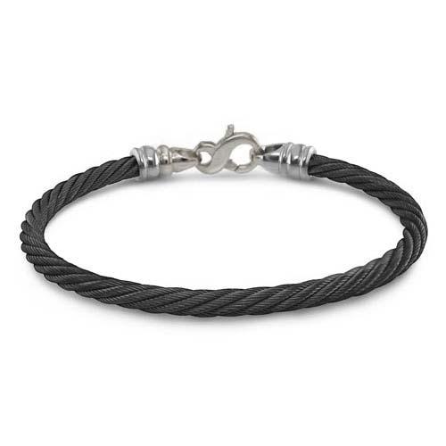 titanium bracelets black cable bracelet 4mm gray titanium clasp psxuxql
