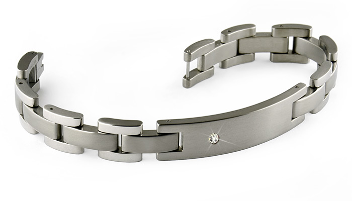 titanium bracelets diamond set titanium bracelet with id plate. engraving ready ufkgiog