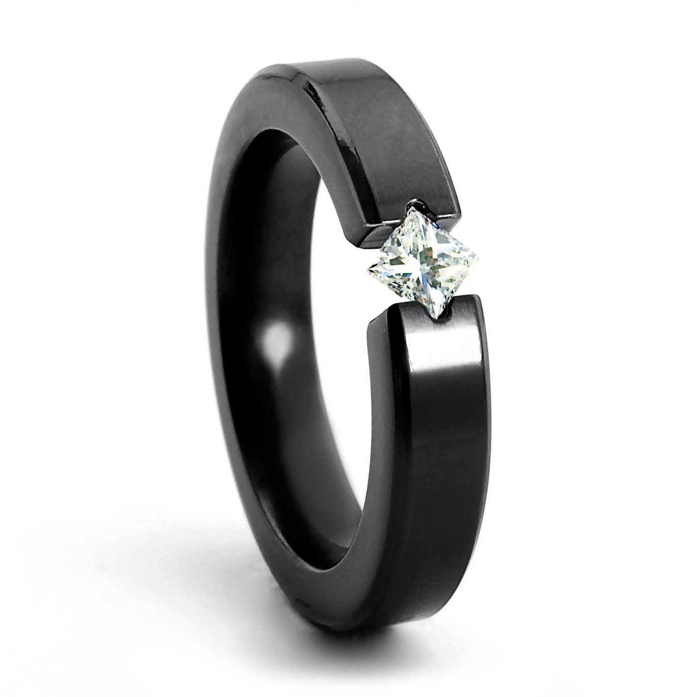 titanium engagement rings allure black zirconium diamond engagement ring - princess cut - 4mm ipyfxrh