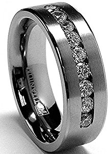titanium wedding rings 8 mm menu0027s titanium ring wedding band with 9 large channel set cubic  zirconia pfnoaoc