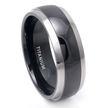 titanium wedding rings black titanium wedding band ring with grey titanium edge sz 7.5 sn#d025 whhhtif