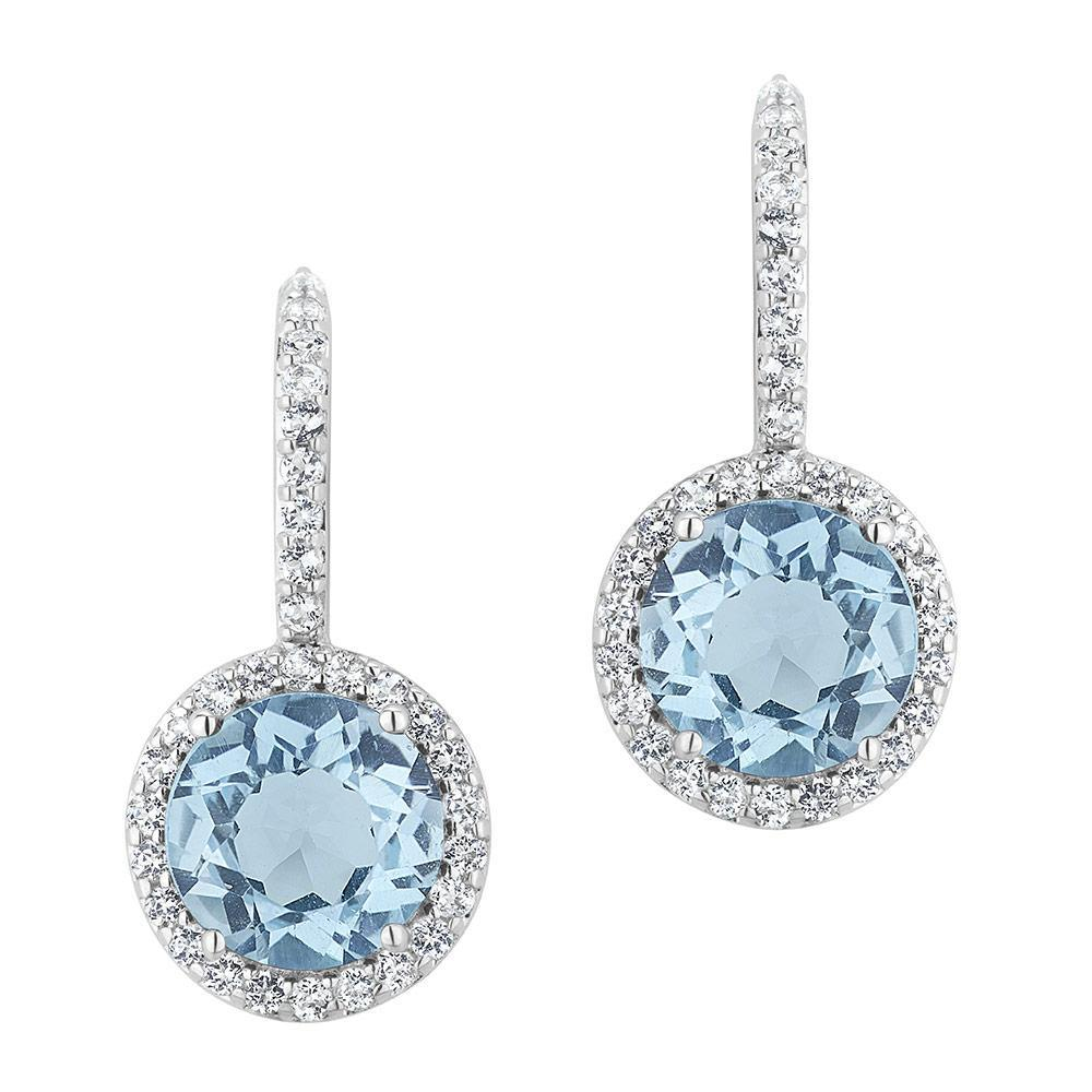 topaz earrings blue topaz and white topaz halo earrings fnntggx