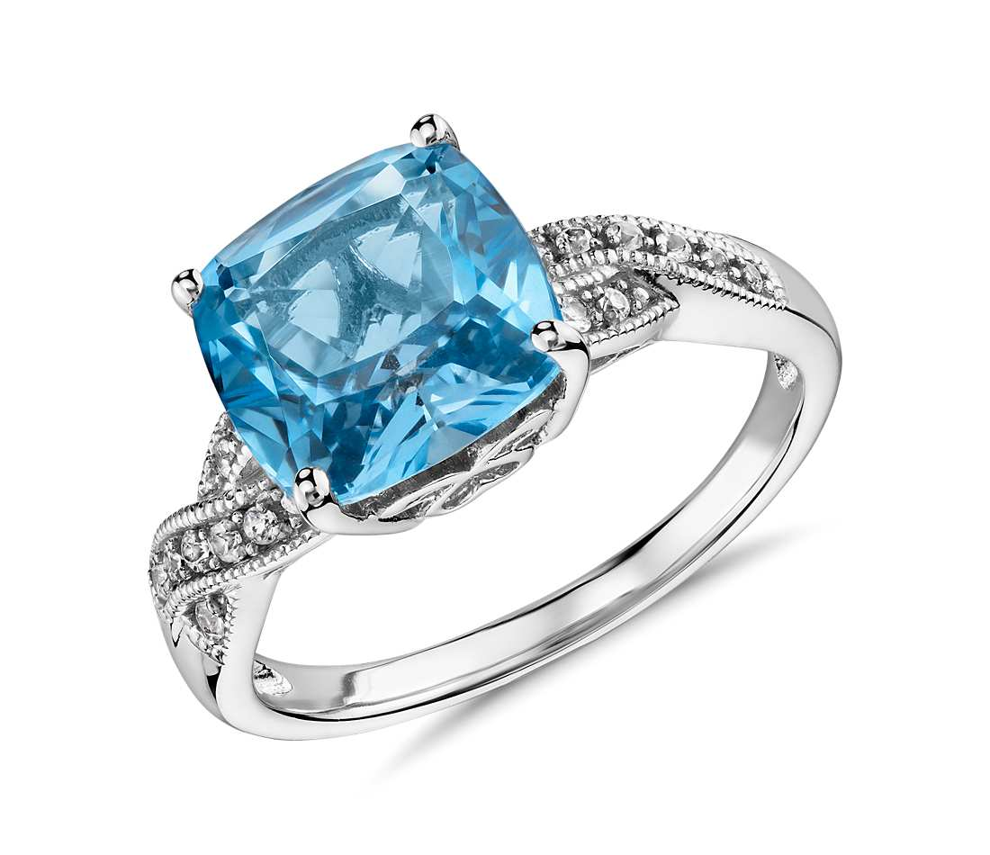 topaz ring swiss blue topaz and white sapphire ring in sterling silver (9x9mm) teluyyk