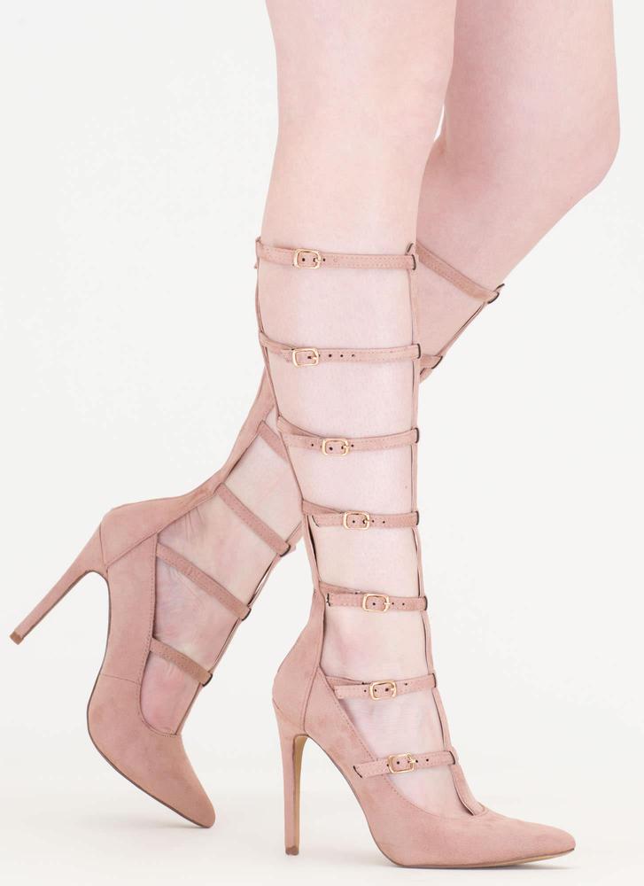 treasured gift caged gladiator heels mauve ... hnbenye
