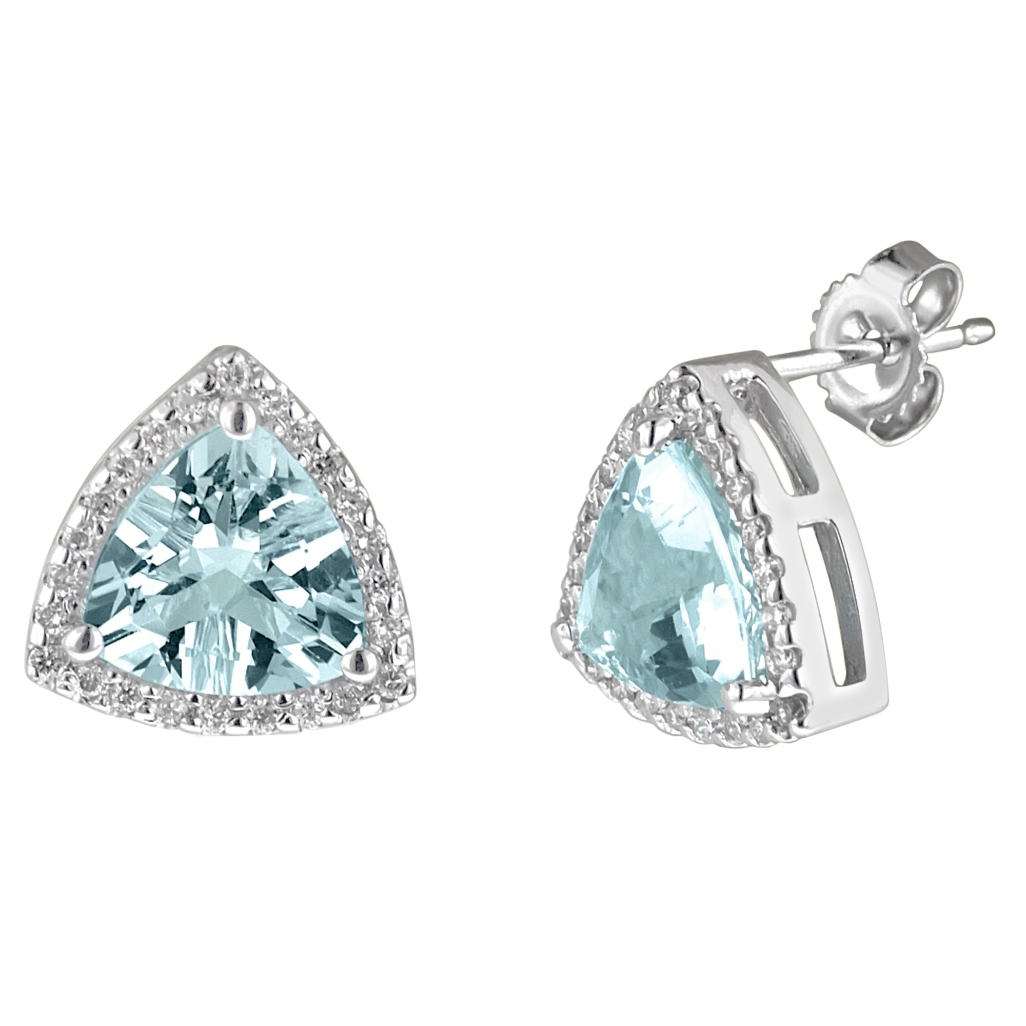 trillion cut aquamarine earrings with diamonds in 14kt white gold (1/4ct tw) HDPJICB