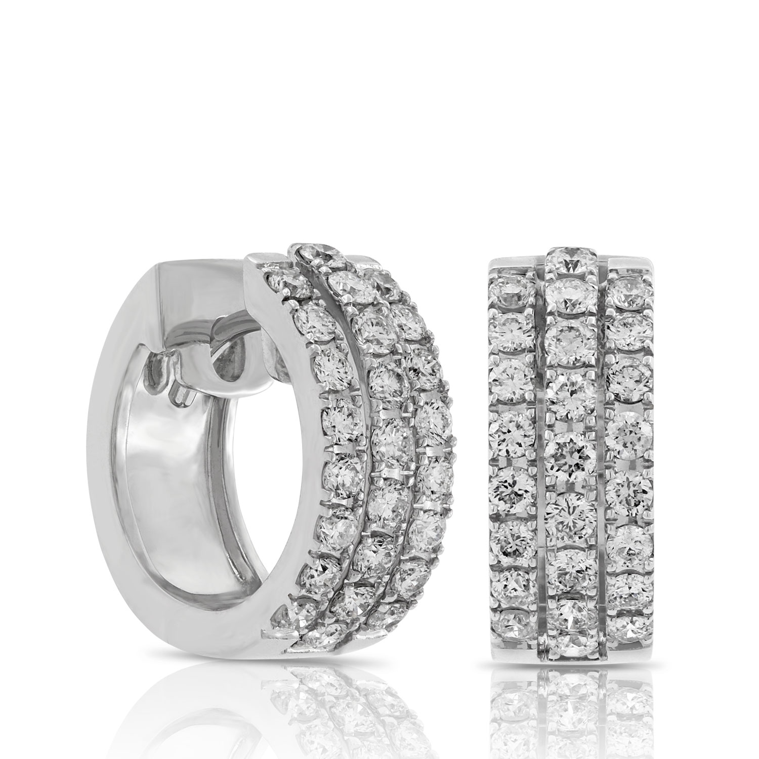 triple row diamond hoop earrings 14k ... gwellzm