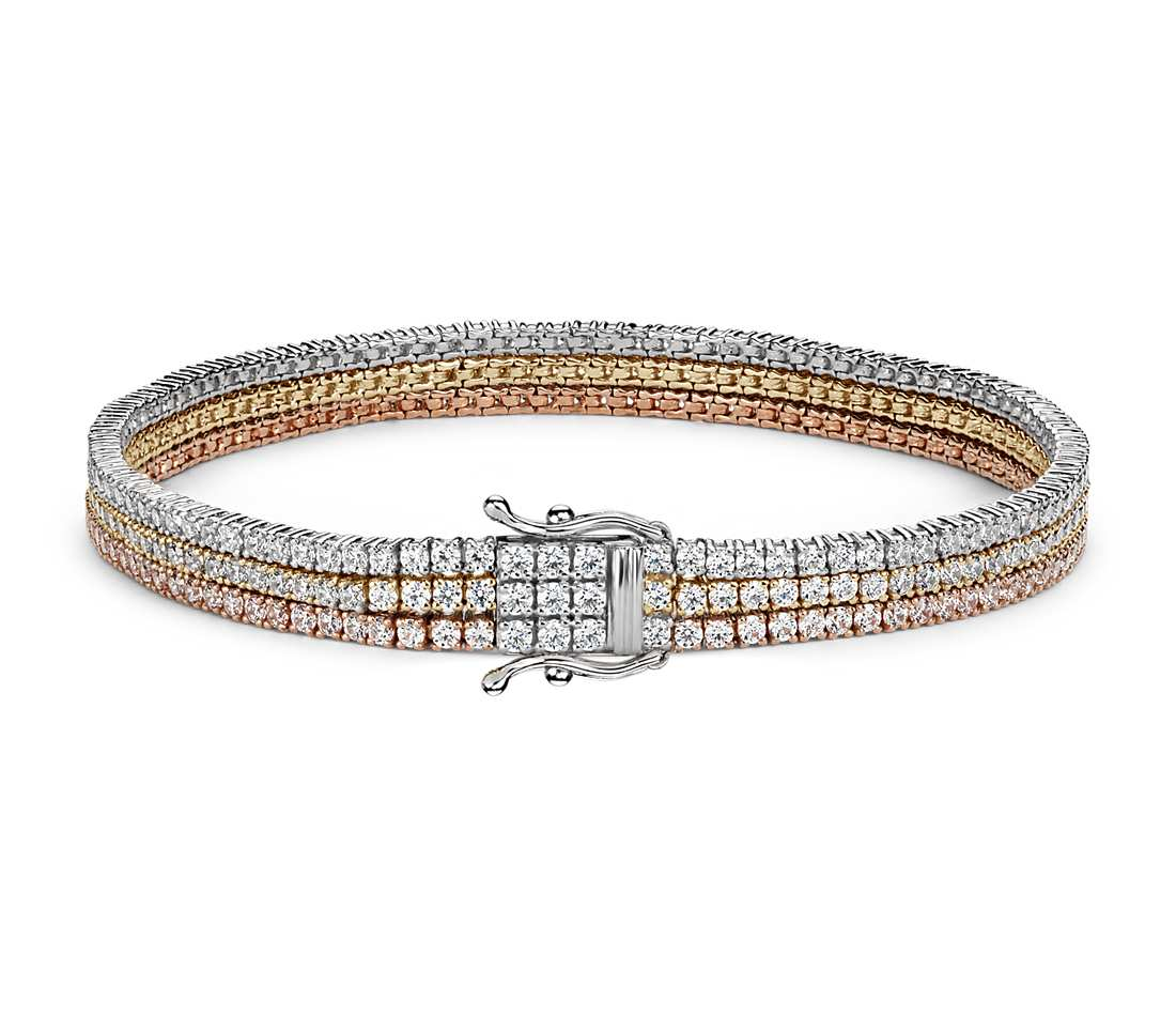triple row diamond tennis bracelet in 18k white, yellow and rose gold (4.75  ct lwnvwms
