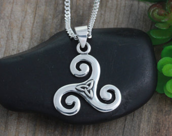 triskele necklace with triquetra, sterling silver triskelion necklace,  triple spiral pendant, celtic jewelry huakuvy