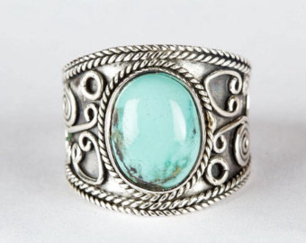 turquoise rings turquoise ring, natural turquoise gemstone pure 925 sterling silver ring,  boho ring, wide ibqsnmx