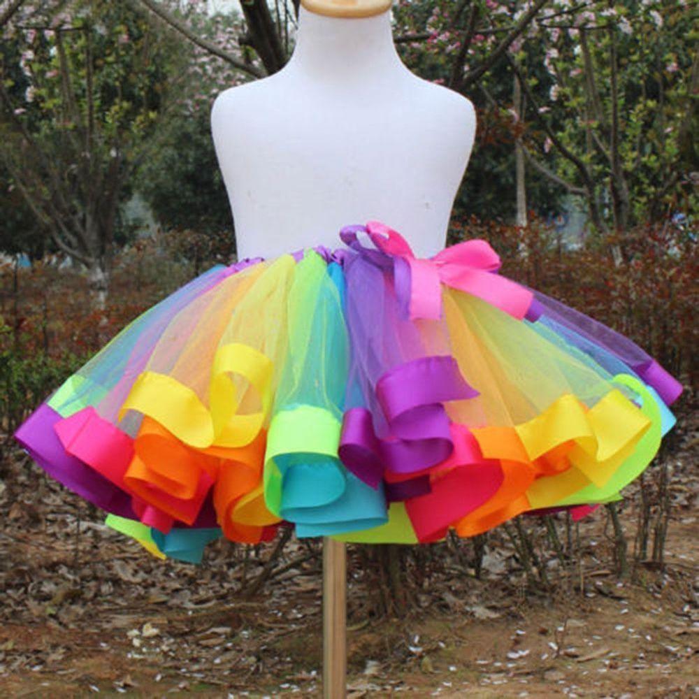 tutu skirts kids girls rainbow tutu skirt tulle fluffy princess dance dress party us  stock | iiqvwyl
