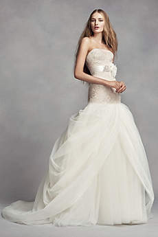 vera wang bridal long mermaid/ trumpet romantic wedding dress - white by vera wang zfumhgf