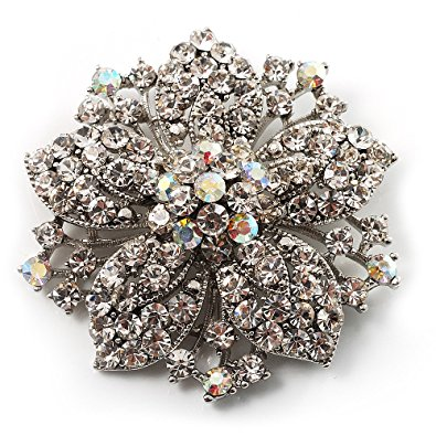 victorian corsage flower brooch (silver u0026 clear crystals) luyjzqo