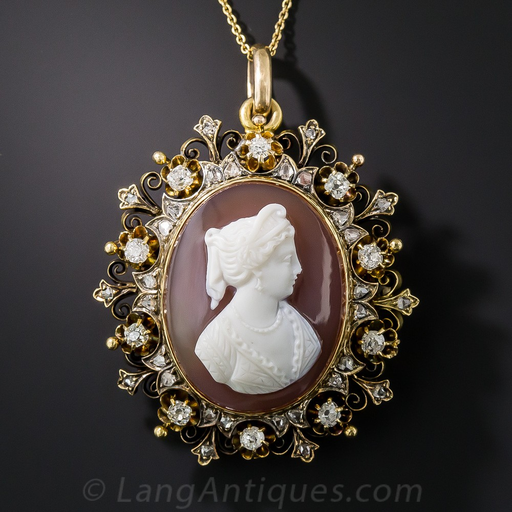 victorian hard stone cameo and diamond brooch/pendant fqlgege