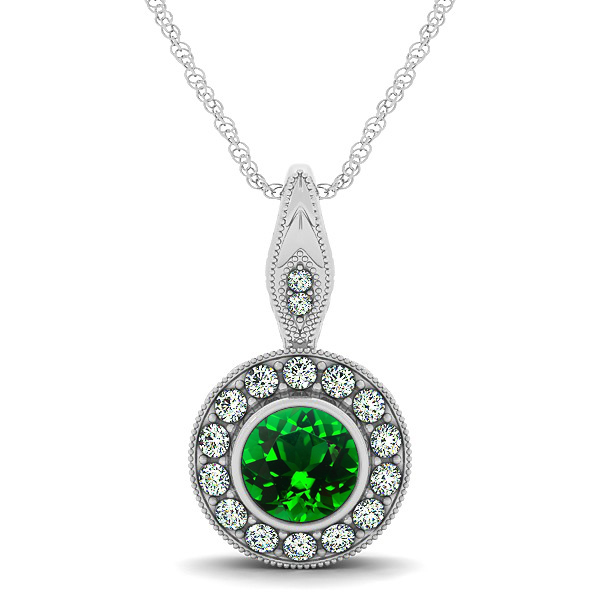vintage emerald necklace with round halo circle pendant oqzkplq