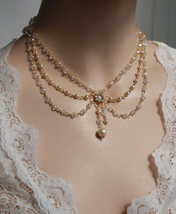 vintage necklaces victorian bridal necklace vintage necklace swarovski crystals ivory pearls  art deco rhinestone and pearls hzveeql
