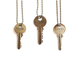vintage necklaces vintage key necklace . word necklace . vintage keys . word jewelry .  fearless cugudse