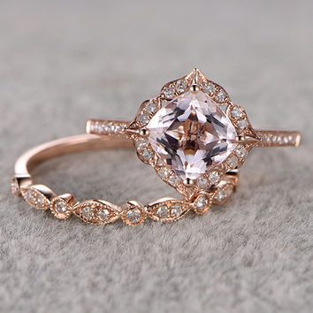 vintage wedding rings 2pcs morganite bridal ring set,engagement ring rose gold,diamond wedding  band,14k qfmrirp
