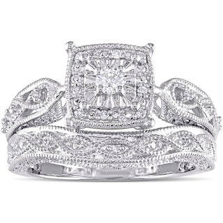 vintage wedding rings miadora sterling silver 1/5ct tdw diamond milgrain bridal ring set luwlauf