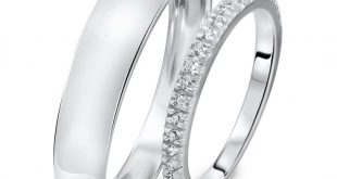 wedding band sets 1/4 carat t.w. round cut diamond his and hers wedding band set 14k white ohsfepe