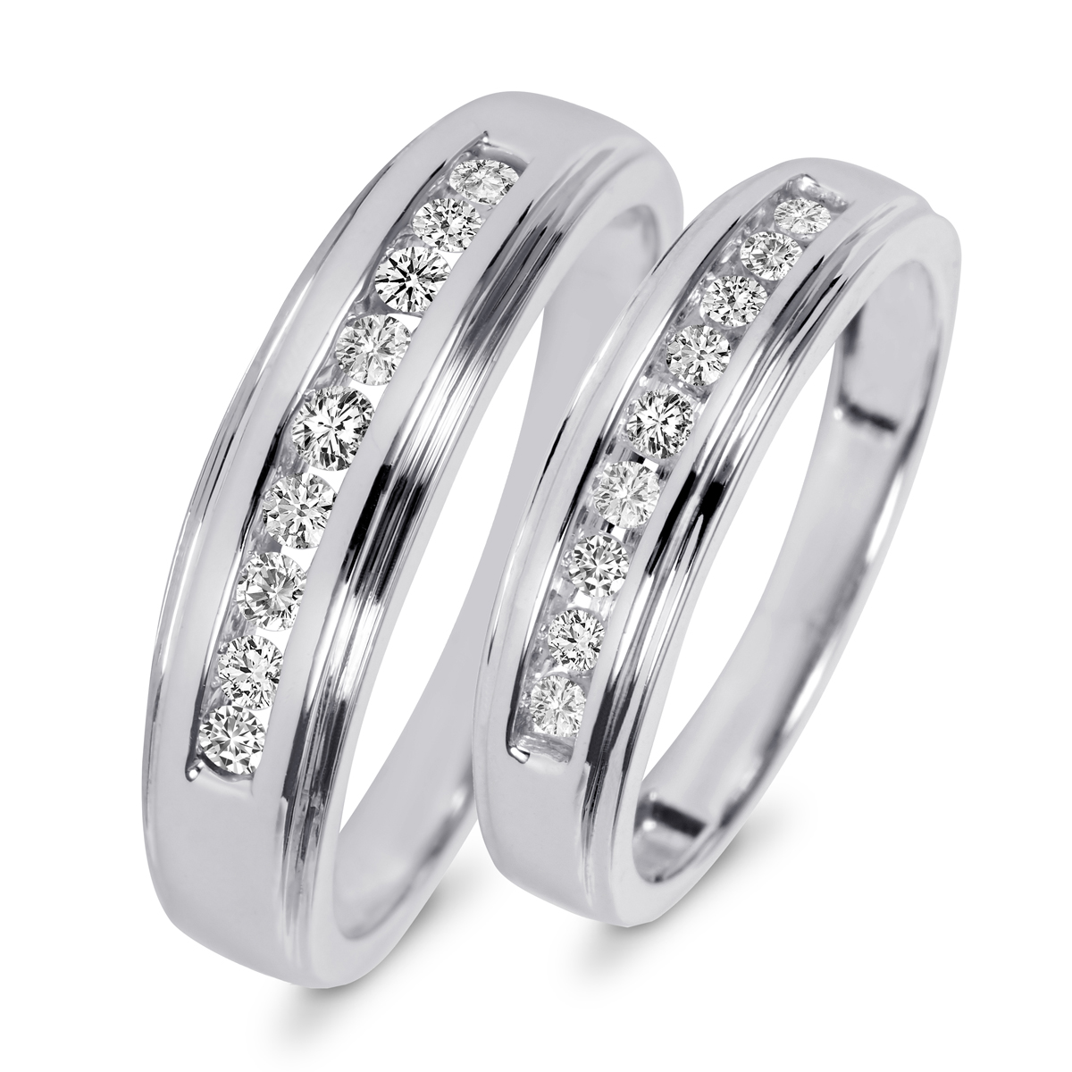 wedding band sets 3/8 carat t.w. diamond his and hers wedding band set 10k white gold | my hlcjfyq