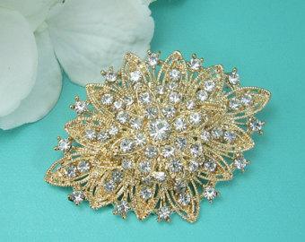 wedding brooches vintage gold rhinestone brooch, art deco wedding brooch, bridal brooch, wedding  brooches, tpduzfj