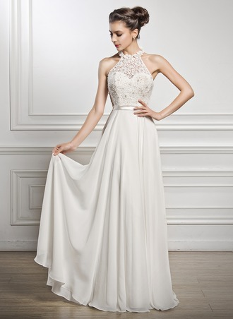 wedding dresses for the beach a-line/princess scoop neck floor-length chiffon lace wedding dress with  beading rgzudqp