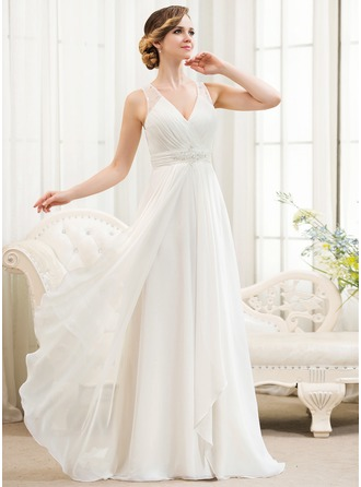 wedding dresses for the beach a-line/princess v-neck sweep train chiffon wedding dress with beading  sequins luismwl