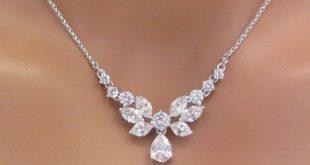 wedding necklace simple bridal necklace bridal rhinestone by theexquisitebride vhmmkot