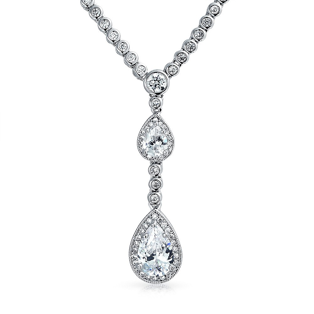 wedding necklace vintage double teardrop silver cz bridal necklace 16in lldfblc