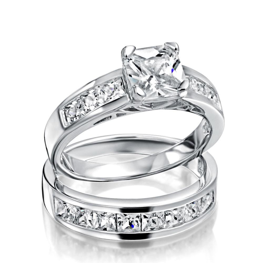 wedding ring sets sterling silver 2ct cz princess cut engagement wedding ring set gcrbzaq