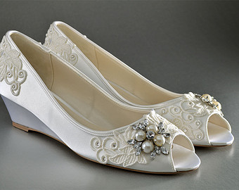 wedding shoes lace wedge wedding shoes - custom wedding shoes- accessories-  womenu0027s shoe- ynolifr