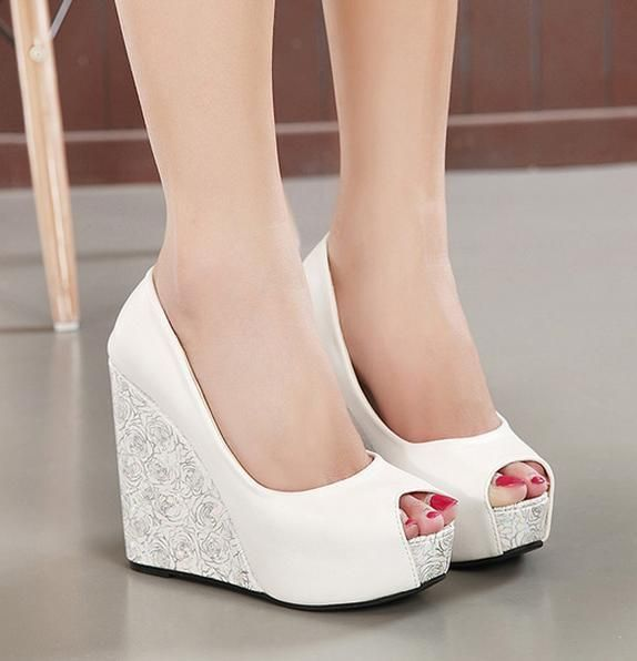 wedding shoes wedges new white wedge heel bride wedding shoes blue peep toe high heel . fokudty
