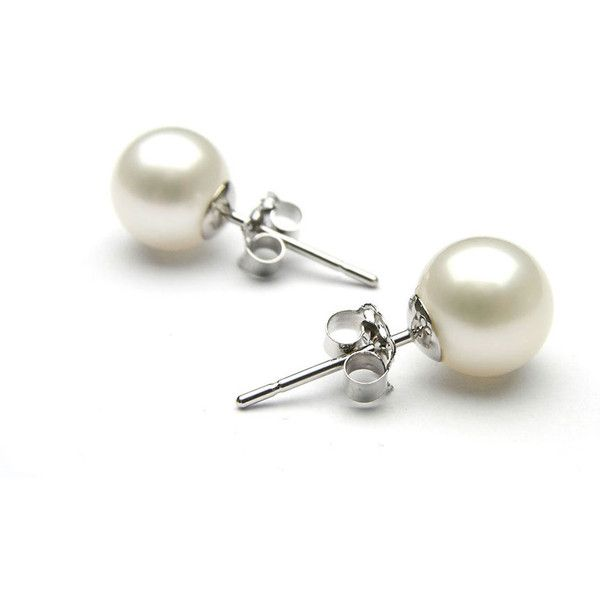 white earrings pearl studs in 18k white gold8mm found on polyvore featuring jewelry,  earrings, jewelry u0026 ubaqets