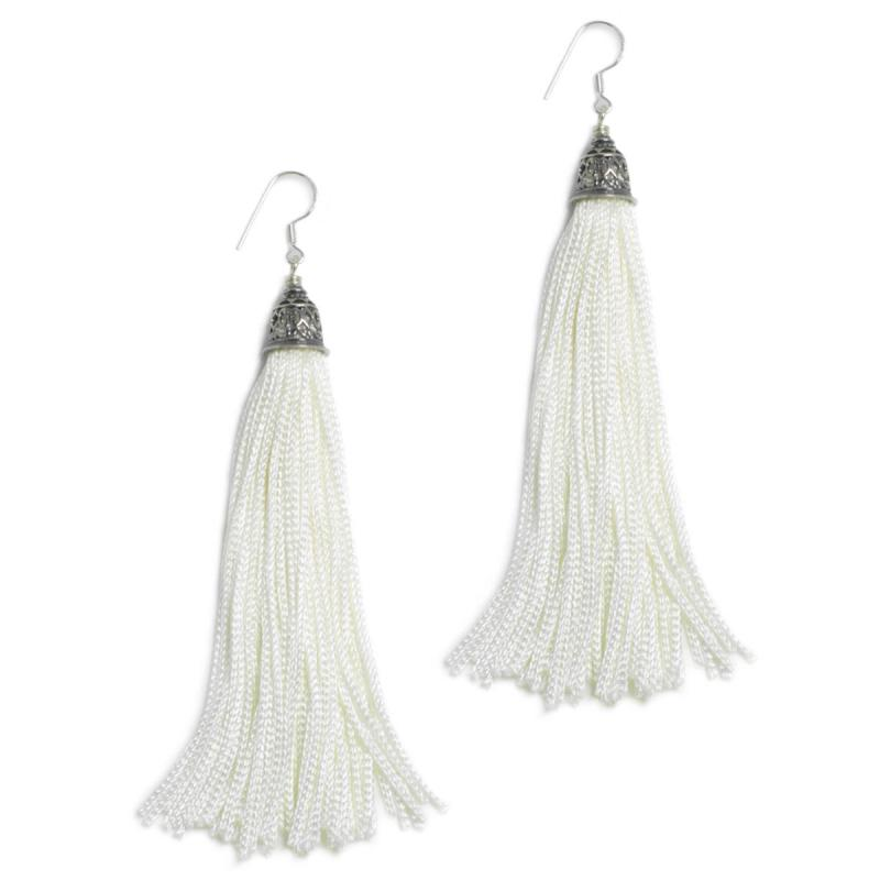 white earrings the fringes ~ sterling silver u0026 rayon earrings - the pure white zgpngiw