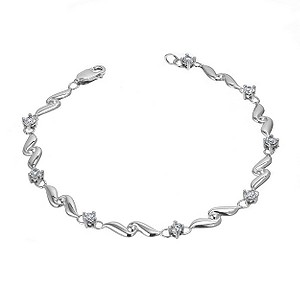 white gold bracelets 9ct white gold cubic zirconia wave bracelet | h.samuel qcorhly