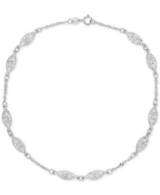 white gold bracelets decorative link ankle bracelet in 14k white gold xjqcsos