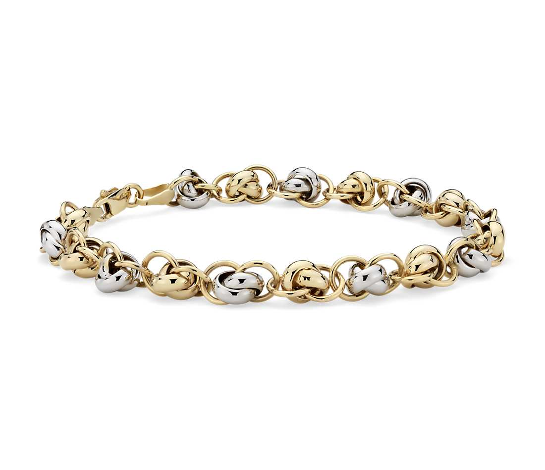 white gold bracelets love knot bracelet in 14k yellow and white gold pckiajf