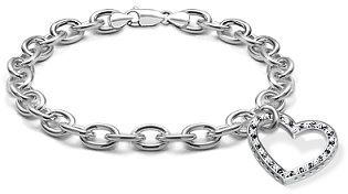 white gold charm bracelet 14k white gold diamond heart charm bracelet (si/h, 1/3 ct. tw.) batxfgx