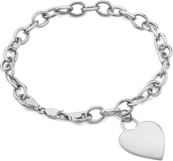 white gold charm bracelet rolo heart charm toggle bracelet, 14k white gold fkmipgt