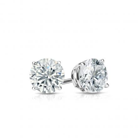 white gold diamond earrings certified 14k white gold 4-prong basket round diamond stud earrings 0.50  ct. tw kkseojq
