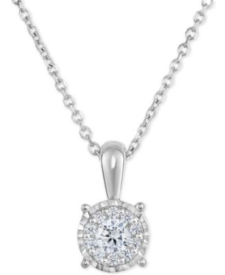 white gold necklace trumiracle® diamond halo cluster pendant necklace (1/3 ct. t.w) in uchxpst