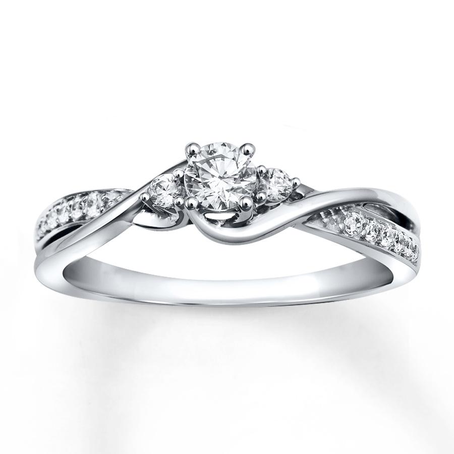 white gold rings diamond engagement ring 1/3 ct tw round-cut 10k white gold xebykau