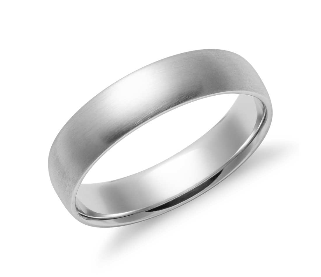 white gold wedding bands matte mid-weight comfort fit wedding band in 14k white gold (5mm) mbtrfmx