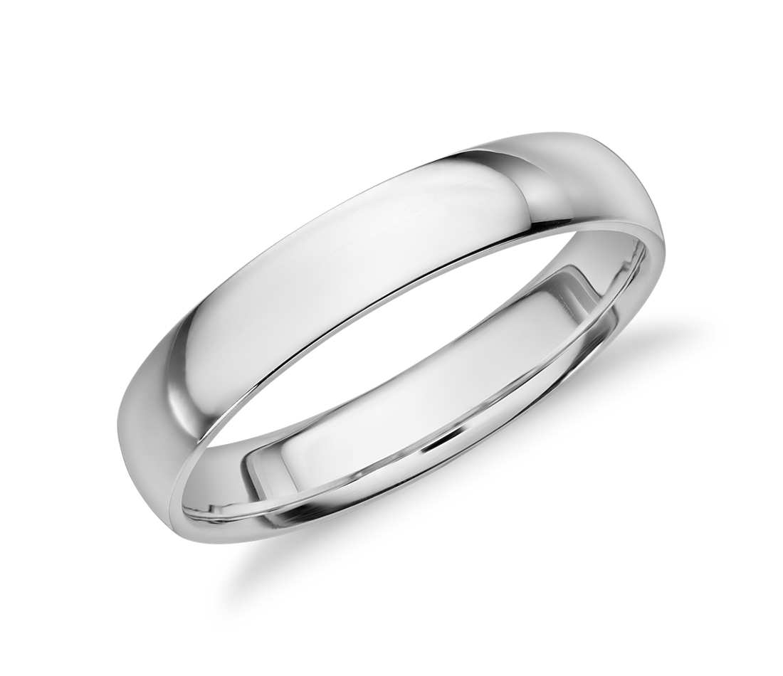 White Gold Wedding Bands Mid Weight Comfort Fit Band In 14k